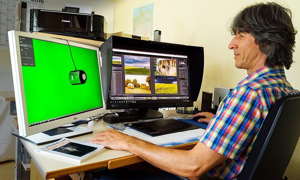 Messvorgang beim Profilieren des Bildschirms